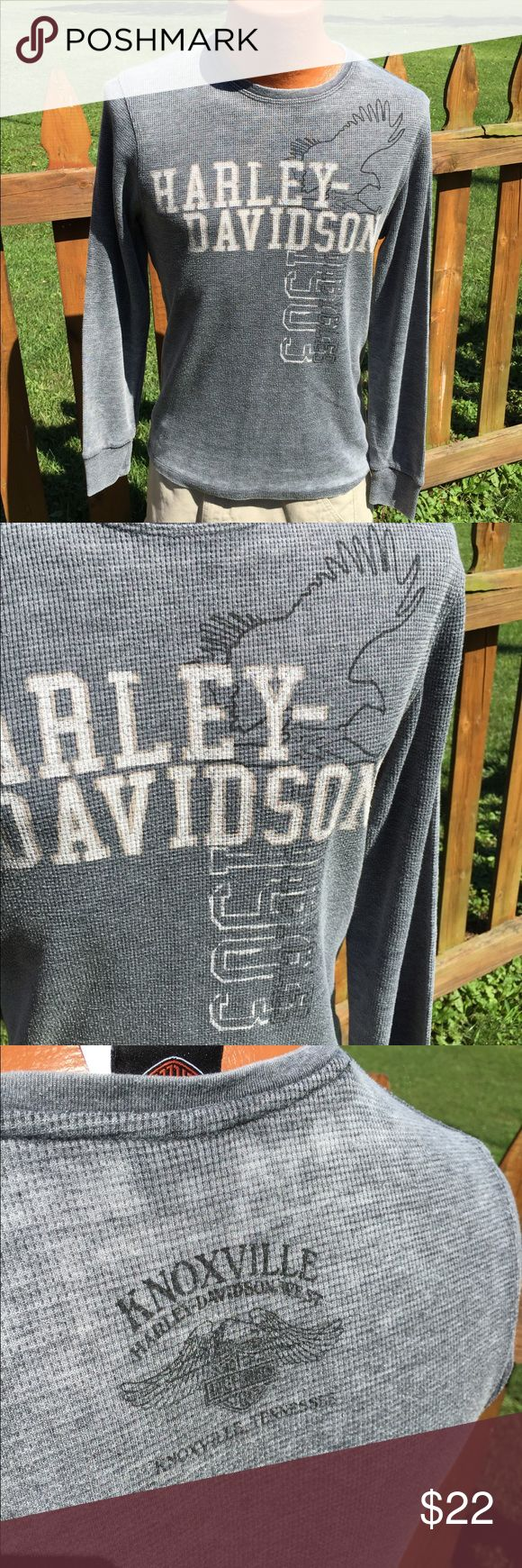 Harley Davidson Mens Thermal Shirt Size Medium Size medium. Super gently preowned. Be sure to view the other items in our closet. We offer  women's, Mens and kids items in a variety of sizes. Bundle and save!! We love reasonable offers!! Thank you for viewing our item!! Harley-Davidson Shirts