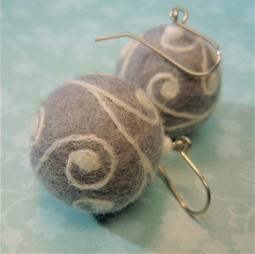 soft grey, needle felted earrings