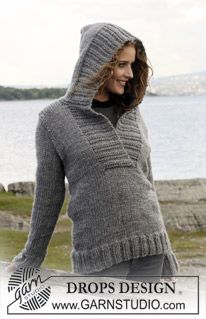 """Campfire - Knitted DROPS Jumper with hood in """"Eskimo"""". Size S - XXXL. - Free pattern by DROPS Design"""