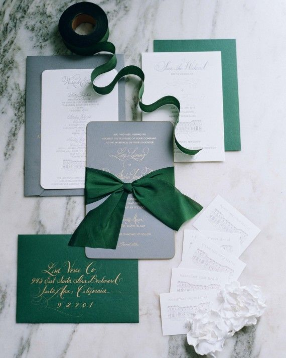 Hunter Green Gold Slate Silver Wedding Invitation Stationery Suite Touch Of Forest Glamorous