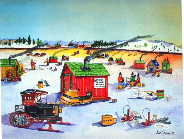 Details about winter ice fishing derby art print skating for Maine ice fishing derbies