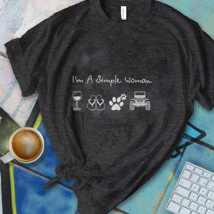 Hot Dog Paw Jeep I M A Simple Woman Glass Wine Flip Flop Shirt