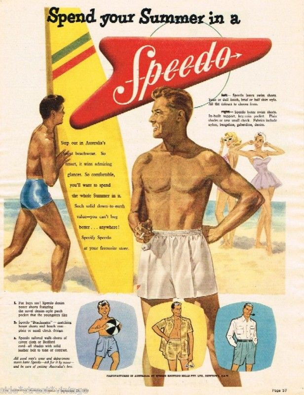 NYLON SWIMWEAR - In the 1950's Speedo  launched the first-ever swimming costume made of Nylon.  In the 1970's, Speedo became the first company to produce swimwear made of Nylon / Elastane.