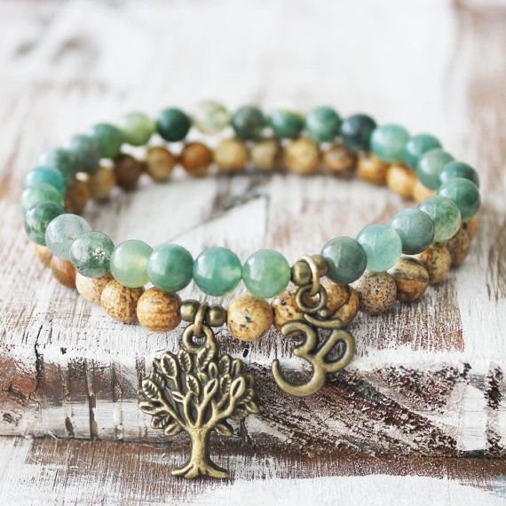 Picture Jasper Moss Agate Tree of Life Om Yoga Mala Bracelets Set One of my best sellers! This Beautiful handmade yoga bracelet set is made from high
