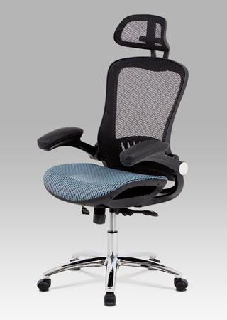 KA-A185 BLUE  Kancelářská židle očalouněná látkou MESH v černé a modré barvě.