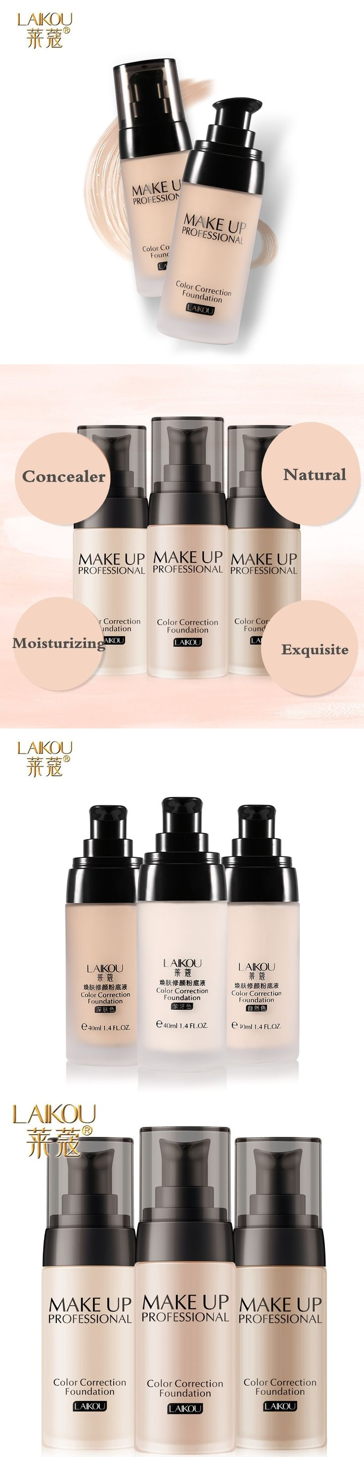 Brand Makeup Base Face Liquid Foundation BB Cream Concealer Whitening Moisturizer Oil-control Waterproof Maquiagem Fond De Teint