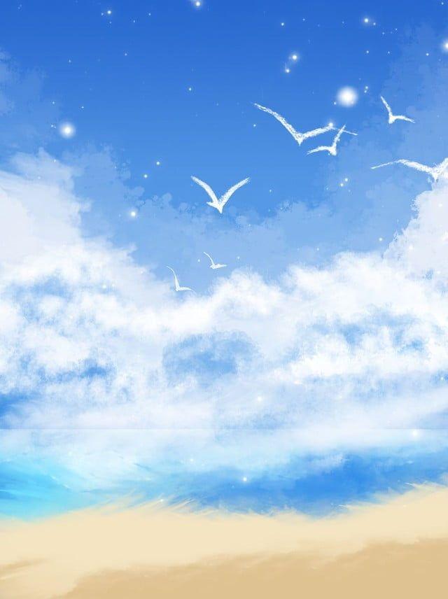 Full Hand Drawn Blue Sky White Clouds Seaside Illustration Poster Background Plano De Fundo Colorido Nuvens No Ceu Azul Como Desenhar Maos