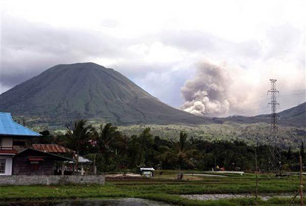Minahasa View on Background Lokon Volcanoe