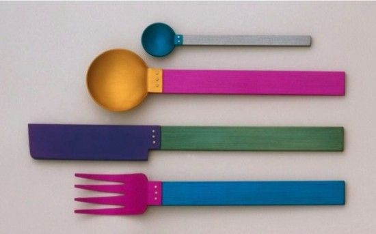 cutleryKnife Spoons, Colors Combos, Colors Everywhere, Brand Messages, Forks Knife, David Tisdale, Color Combos, Cutlery Placs Sets, Kids Kitchens