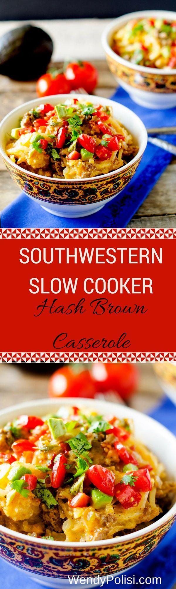 Southwestern Slow Cooker Hash Brown Casserole #simplypotatoes #sponsored