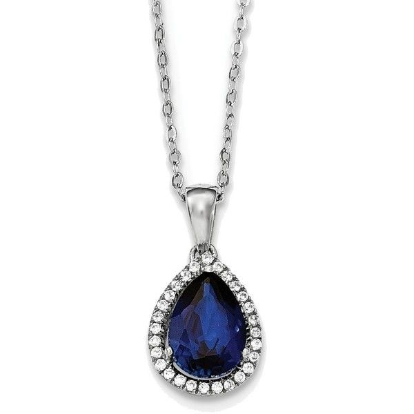 18 Sterling Silver Rhodium Created Sapphire & CZ Necklace ($44) ❤ liked on Polyvore featuring jewelry, necklaces, sterling silver jewelry, sapphire necklace, sterling silver jewellery, cz jewelry and sapphire jewellery