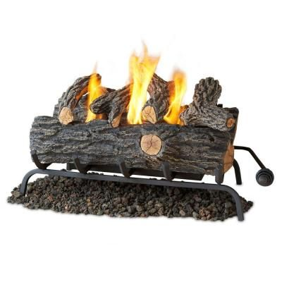 Real Flame 24 in. Oak Convert to Gel Fireplace Logs-2609-O - The Home Depot