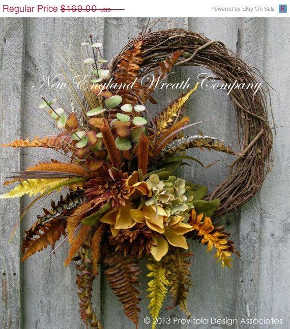 Fall Wreath, Autumn Wreath, Thanksgiving Décor, Harvest, Magnolias, Woodland Wreath