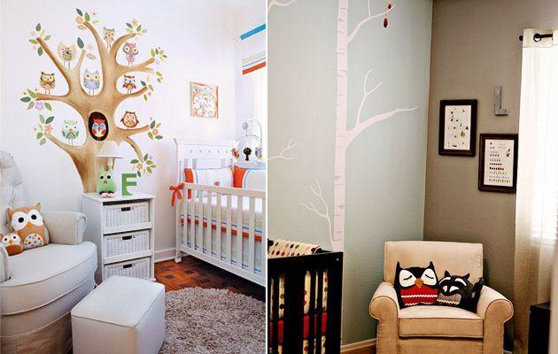 нарисованное дерево в детской комнате