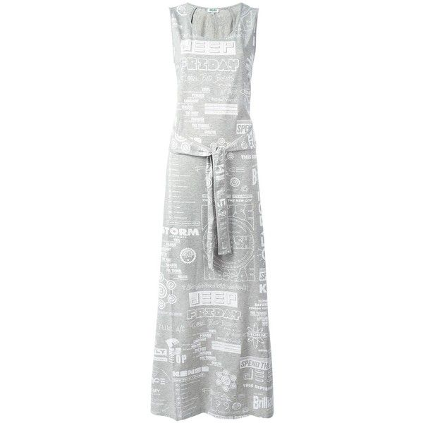 Kenzo Flyers maxi dress (€365) ❤ liked on Polyvore featuring dresses, grey, sleeveless maxi dress, gray party dress, scoop neck maxi dress, grey party dresses and night out dresses