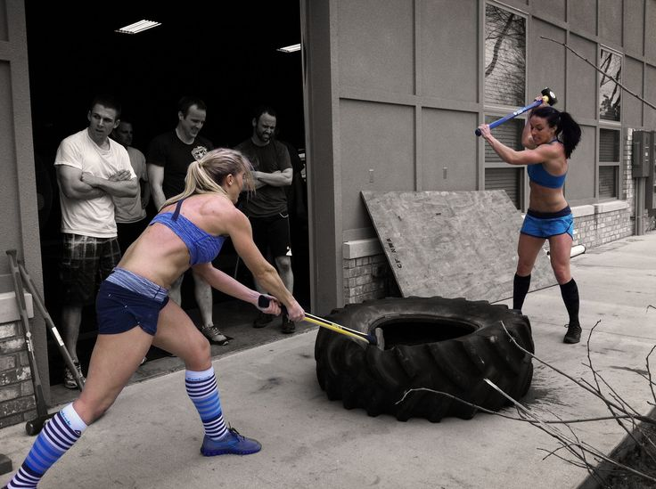 Ladies workin' the tire #crossfit. Good thing W and I have these..I see a pic in our future ...