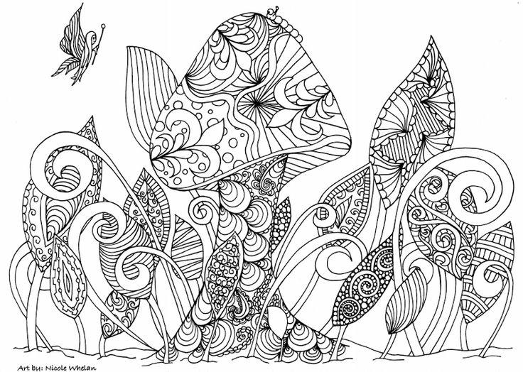 Free Printable Mushroom Adult Coloring Page From Artist Nicole Whelan