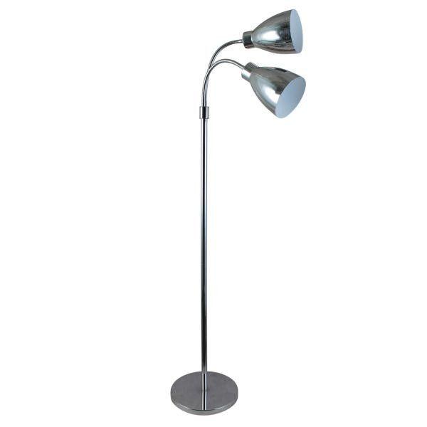 Retro Chrome Floor Lamp with Twin Lamps – Luminous Lamps