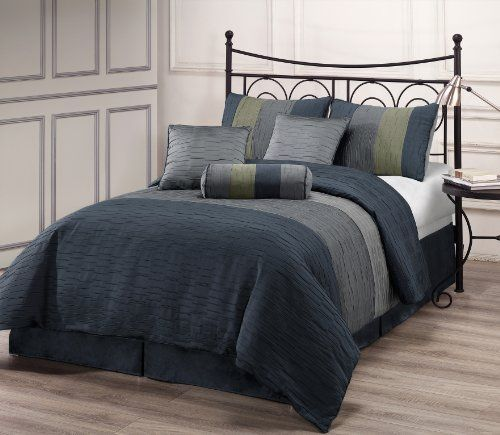 Zadooth King Size 7 Piece Comforter Set Slate Blue