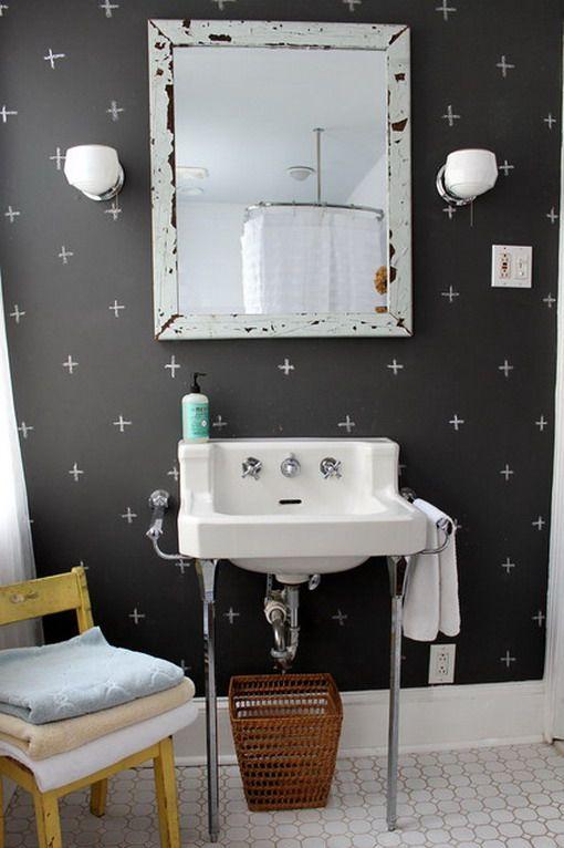 Dark Wallpaper in Small Eclectic Bathroom