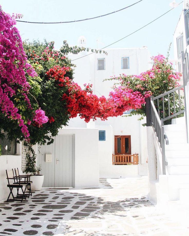 "LEILANI KRIENKE on Instagram: ""Fell through a postcard and landed in the streets of Mykonos. 🇬🇷🌸#flashback #honeymoon #greece #mykonos #town #travel #visitgreece…"""