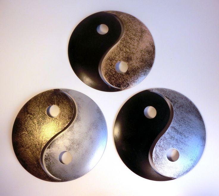 yin und yang pulverbeschichtetes metall wanddekoration. Black Bedroom Furniture Sets. Home Design Ideas