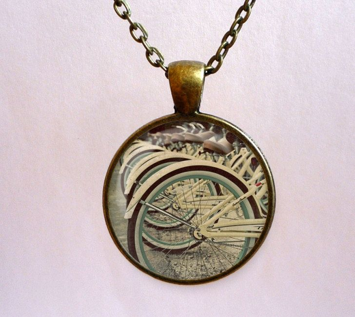 BICYCLE pendant. Bike photo necklace. Handmade jewelry with chain (SMho022) by OldeOwlPendants on Etsy