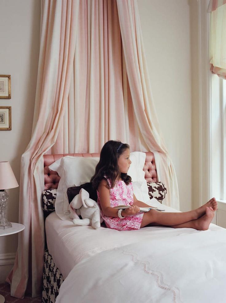 Pink tufted headboard, girl's room by Philip Gorrivan Design