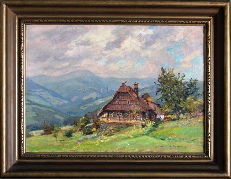 Cína Jelínek František ( 1882 - 1961 ) - U starců na Rychlově - olej,plátno - 60x80