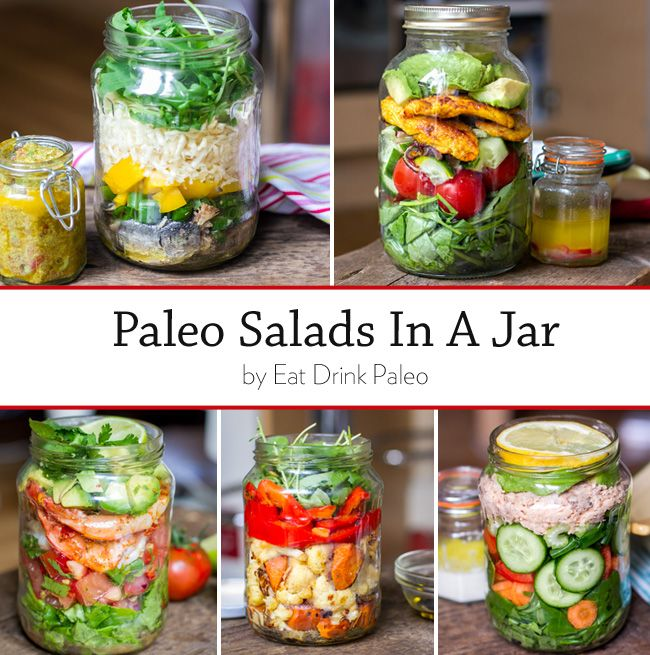 #Paleo Salads In A Jar - Sardines and celeriac with avo dressing, Mexican prawn with tomato salsa, wild salmon and creamy dressing, Moroccan chicken with lime and chilli, and grilled veggies with toasted almonds and balsamic | Eat Drink Paleo