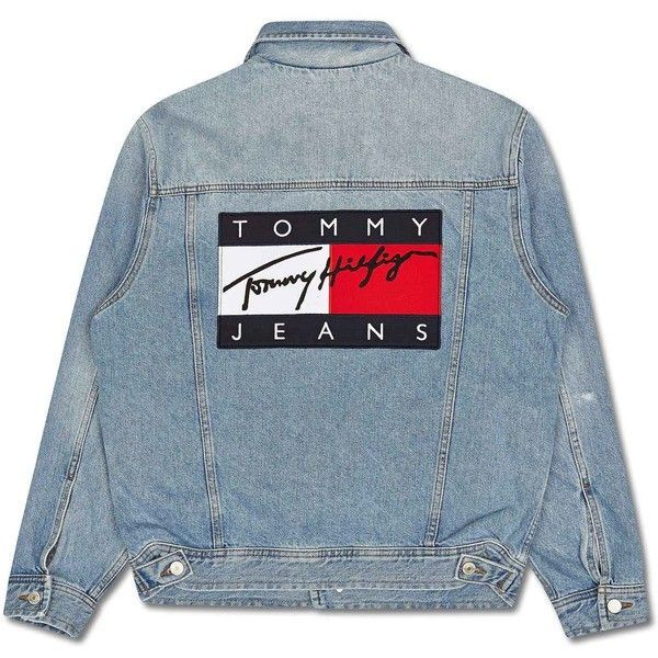 Tommy Hilfiger 90s Denim Jacket Liked On Polyvore Featuring Outerwear Jackets Blue Jackets Denim Denim Jacket Women 90s Denim Jacket Tommy Hilfiger Outfit