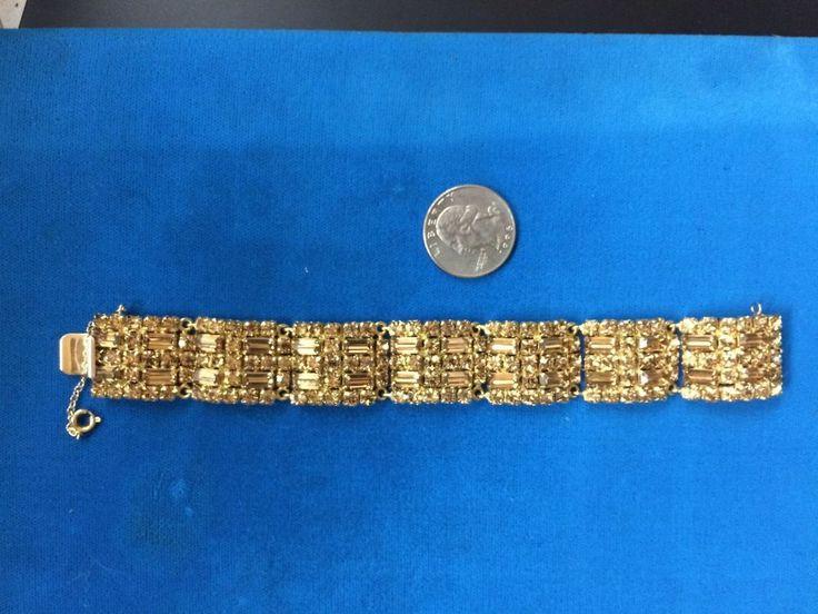 vintage smoke topaz crystal rhinestone signed Sherman  1950 tennis bracelet