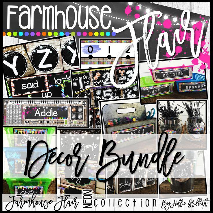 Classroom Decor Bundles : Farmhouse flair neon classroom decor bundle