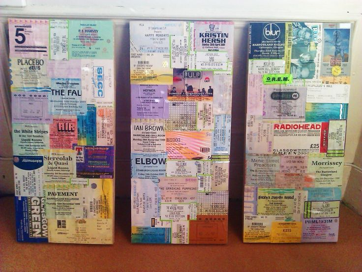 Decoupage Gig Ticket Canvas #howto #tutorial