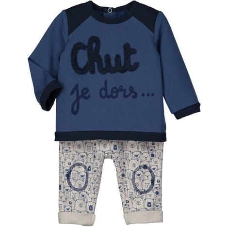 IN EXTENSO Ensemble sweat molleton + sarouel molleton bébé garçon pas cher à prix Auchan