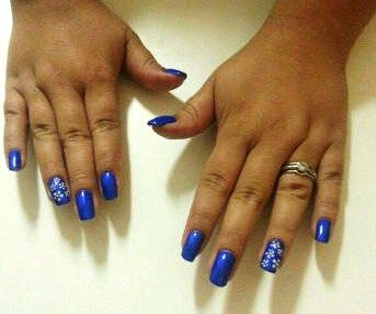 Royal Blue Gel Polish (ProGel ) overlay, with white daisies... one of my favourites!