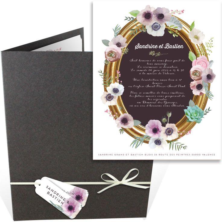 top wedding invitations016%0A Faire part mariage pochette illustr   par une magnifique couronne de fleurs  qui fera son effet aupr  s