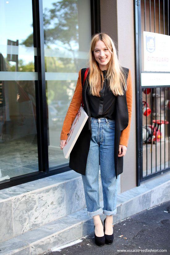 Sophie Lowe in cute boyfriend jeans and Ellery coat.