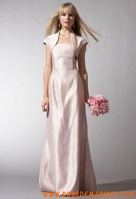Rose tendre sans bretelle veste courte taffeta robe de princesse robe demoiselle d'honneur