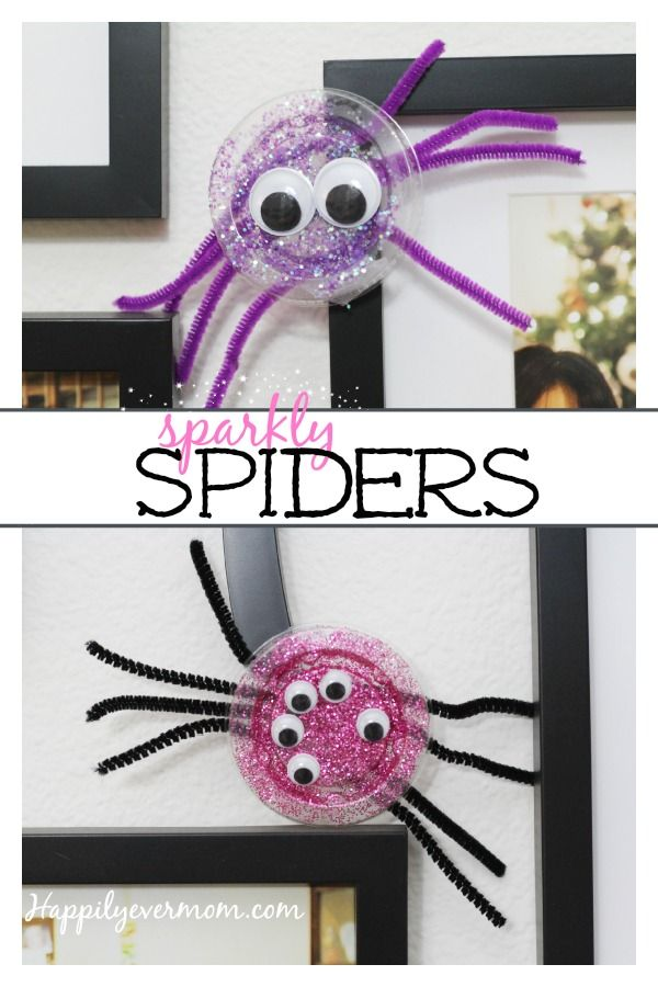 Fun to spider craft to make with kids that's an easy last minute Halloween decoration!