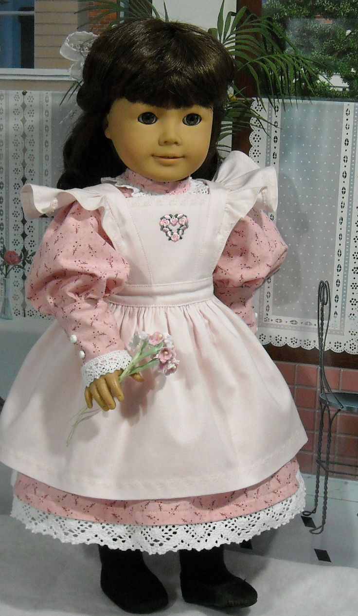 """So sweet! This dainty confection of an outfit  for American Girl® doll Samantha® was made by Kathy of Sugarloaf Doll Creations and features our Pattern #1022: Cookie Time Pinafore for 18"""" Dolls (in our Etsy shop at https://www.etsy.com/listing/213964231/lp-pattern-1022-cookie-time-apron?)."""