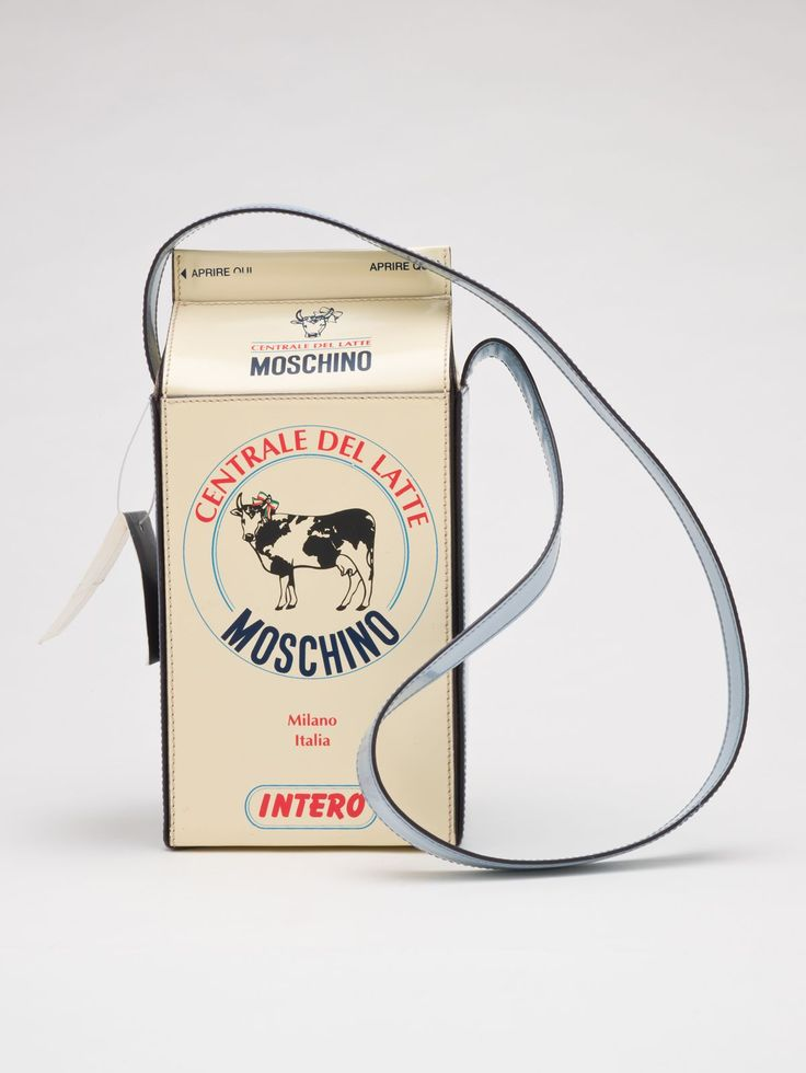 "Franco Moschino (Italian, 1950-1994), ""Purse 'milk carton',"" 1990s; Indianapolis Museum of Art, Textile Arts Fund, 2010.213; © Franco Moschino"