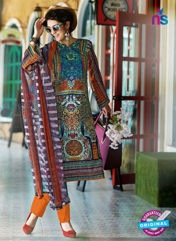 SC 12648 Multicolor and Orange Printed Cambric Pakistani Suit