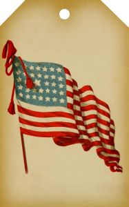 Vintage American Flag Printable Digital Tag