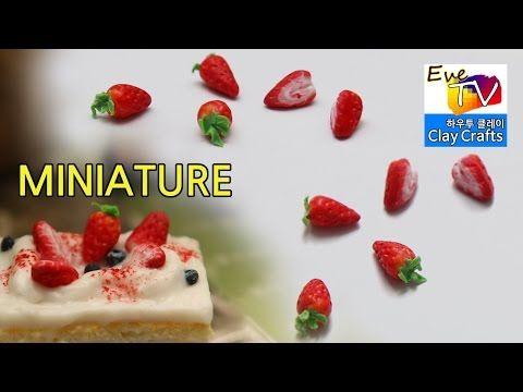 미니어쳐 통딸기 반딸기 토핑만들기 폴리머 클레이 miniature food strawberry polymer clay - YouTube