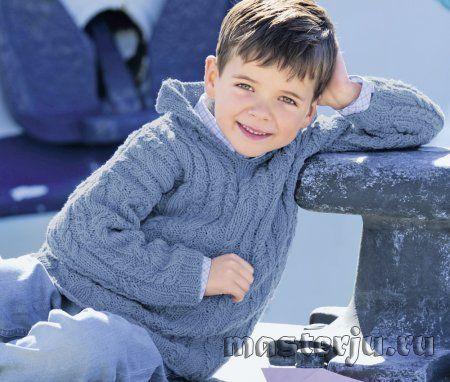Детский джемпер с капюшоном и рельефными косами