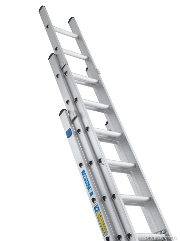 "£171.38 Industrial Triple Ladder - Zarges.High quality Triple Extension Ladders with D-shaped rungs for comfort and ease of use. These three section ladders can easily be adjusted rung by rung and feature rung hooks and locking tabs to ensure your safety both when the ladder is in use and in storage. Tested and certified to both BS 2037 Class 1 and EN 131.  Designed with ""D"" shaped serrated rungs for comfortable use. Side stiles are box section for smooth handling and extra strength."