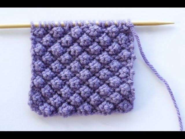 This video shows you how to work the Raspberry Stitch, also known as the Trinity Stitch.  Pattern instructions:  Rows 1 and 3: Purl all stitches  Row 2: K1 *(K1, P1, K1) into next stitch, P3tog* K1  Row 4: K1 *P3tog, (K1, P1, K1) into next stitch* K1  Rep. Knit, How, Stitch,