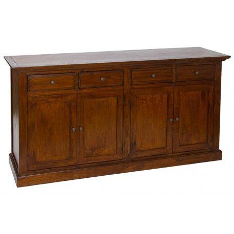 Mueble para comedor. Aparador rústico para comedor fabricado en madera de acacia. Mueble con 4 cajones y 4 puertas color nogal      Ancho: 45 cm     Largo: 170 cm     Alto: 85 cm