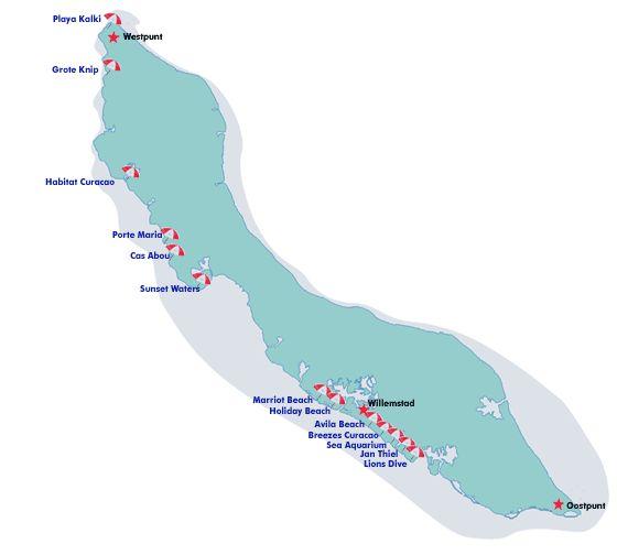 Curacao Beaches Map